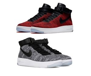 nike air force 1 mid flyknit wmns mens oreo red black white f