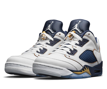 nike air jordan 5 retro low dunk from above White Midnight Navy Metallic Gold Star 819171-135 p