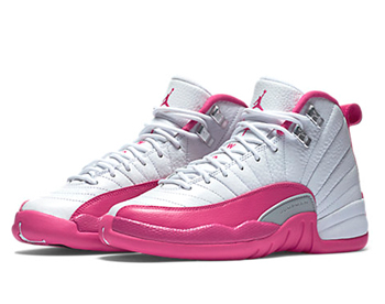 nike air jordan 12 retro gs White Metallic Silver Vivid Pink 510815-109 p