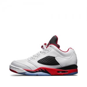 nike air jordan 5 retro low White-Fire Red-Black 819171-101 f