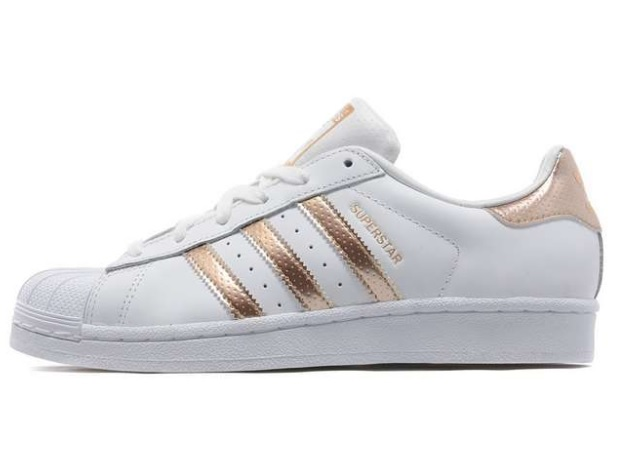 adidas superstar womens rose gold stripe. Black Bedroom Furniture Sets. Home Design Ideas