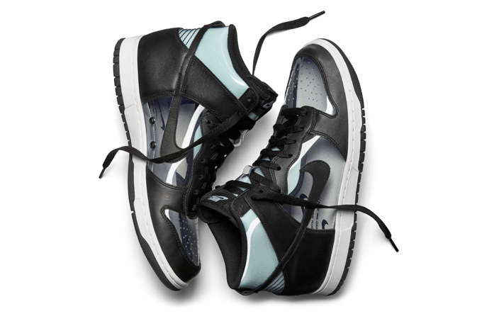 pretty nice 8e0c7 a712a The NIKELAB DUNK HI x COMME DES GARÇONS uses the fairytale theme of  invisible clothing to great effect on this reinterpretation of the Nike  Dunk High.