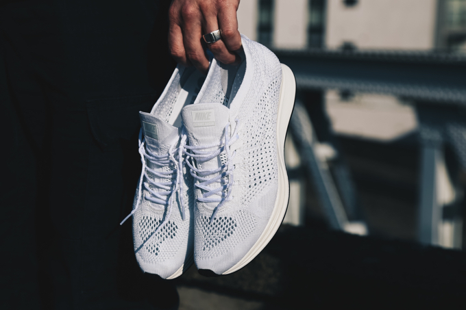 473de7305dbf Get blessed with the Nike Flyknit Racer White  Goddess  - The Drop Date