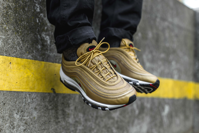 online store 35f2d cd19d Available Now: Nike Air Max 97 Metallic Gold - On-Foot Shots ...