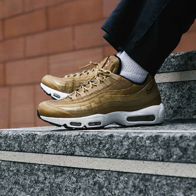 5da290bb3651c Nike Air Max 95 Premium QS Metallic Gold: On-Foot Shots - The Drop Date