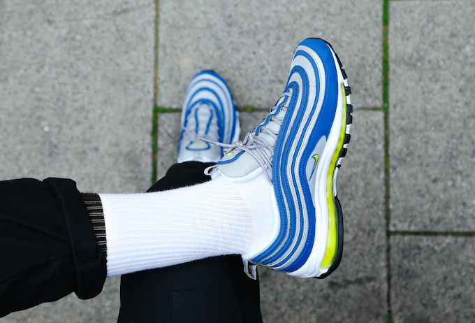 finest selection c4973 bfff3 Nike Air Max 97 Atlantic Blue: On-Foot Shots - The Drop Date