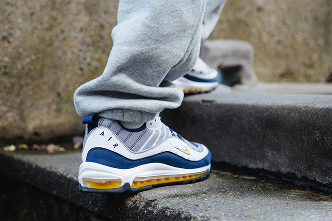 Nike Air Max 98 Tour Yellow Midnight Navy  On-Foot Shots - The Drop Date dedc92a5a