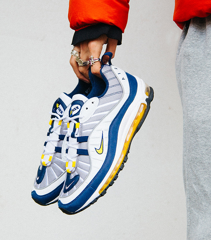 The NIKE AIR MAX 98 in Tour Yellow Midnight Navy is AVAILABLE NOW  click  the banner below to see the release page with full stockist details. 7971153b1