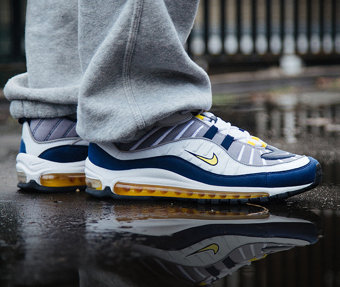 Nike Air Max 98 Tour Yellow Midnight Navy On Foot Shots The