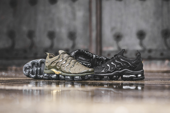 Check out BSTN's exclusive on-foot shots of the NIKE AIR VAPORMAX PLUS,  which lands next week in Cargo Khaki and Triple Black.