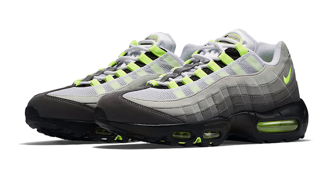 sale retailer 600b8 aa5e2 The NIKE AIR MAX 95 NEON is one of those shoes that we ll never tire of  seeing. With its distinctive layered fade across the uppers and bright neon  yellow ...