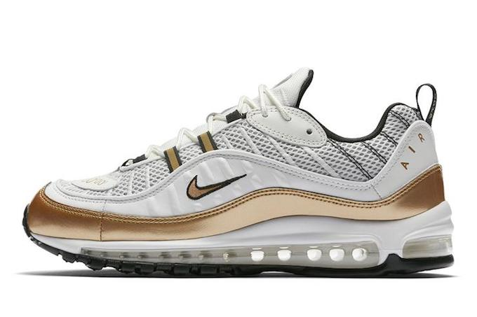 new style a8353 9a0d3 Nike Air Max 98 White and Gold