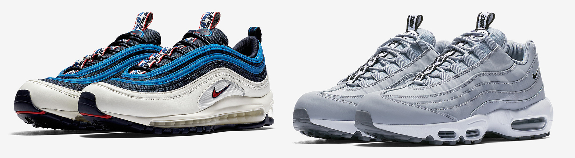 The NIKE AIR MAX PULL TAB PACK returns, this time plastering both the NIKE  AIR MAX 95 and NIKE AIR MAX 97 with the Swooshes logo-dense tape design…