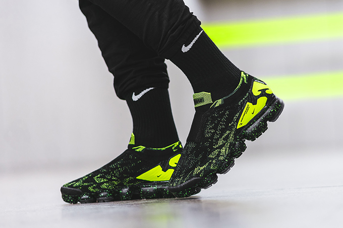 7beb6e5705c ACRONYM x Nike VaporMax Flyknit Moc 2 Black Volt  On-Foot by BSTN ...