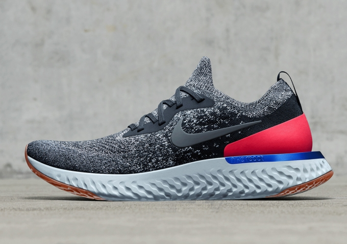 Grey And Red Womens Running Shoes