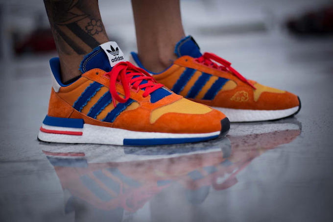 238be266b9a81 A Closer Look at the Dragon Ball Z x adidas ZX500 RM Goku - The Drop ...