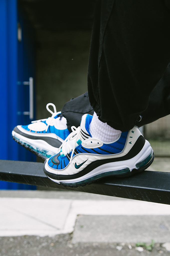 On Foot With The Nike Air Max 98 Women S In Blue Nebula And