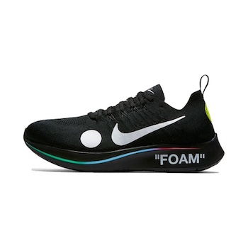 closer at new photos on feet at Nike x Off White Zoom Fly Mercurial FK - BLACK - 14 JUNE ...