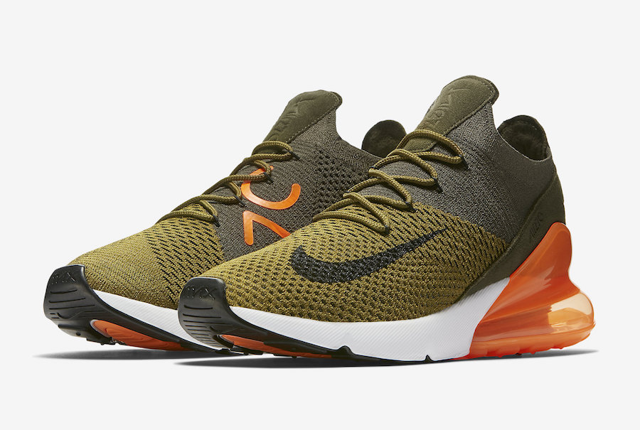 479a868fa69 A Familiar Colour Treatment Decks out the Nike Air Max 270 Flyknit Olive.  July 21st