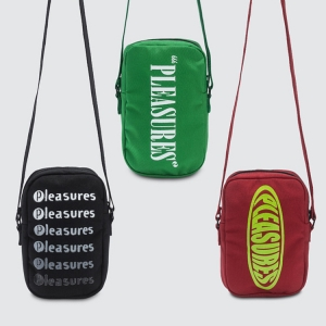 Cult LA brand PLEASURES solves your summer carrying problems with a new brace of graphic side bags. Click to shop.