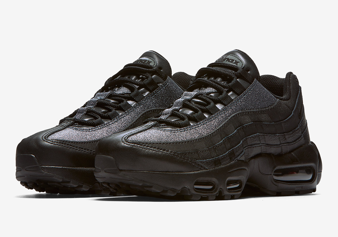 Nike adds a subtle shine to a blacked-out classic with the NIKE AIR MAX 95  PREMIUM BLACK. 1e0f7dd031