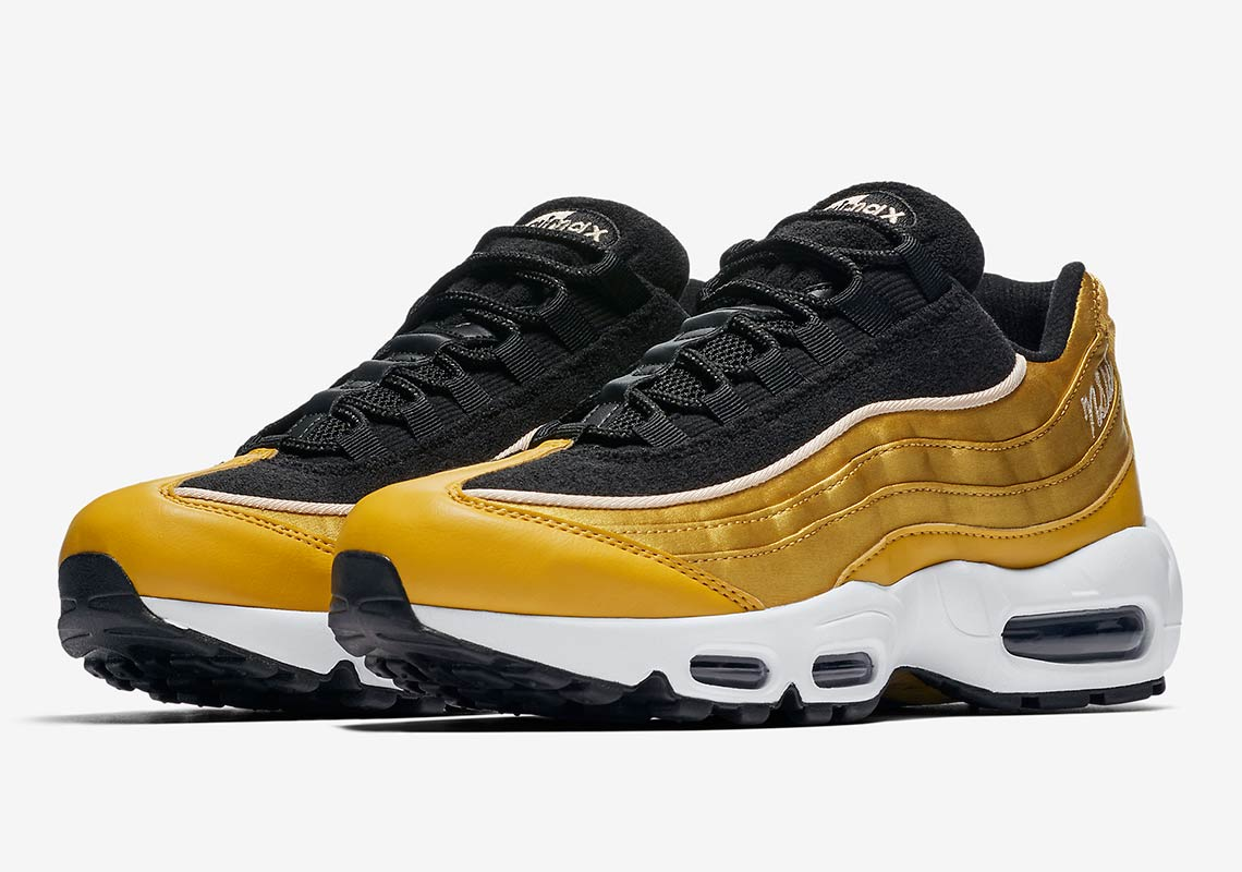 new product c1bc2 45a4f Nike goes for gold with the upcoming NIKE AIR MAX 95 LX SATIN.