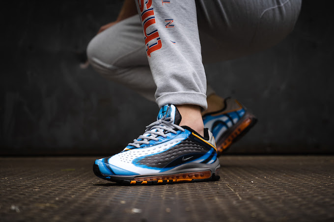 official photos b573e e6989 OVERKILL catch the return of the late- 90s classic NIKE AIR MAX DELUXE  PHOTO BLUE with an exclusive on-foot shoot.