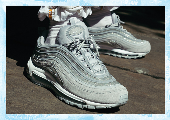 Nike Air Max 97 Wolf Grey Glitter: On Foot Shots The Drop Date
