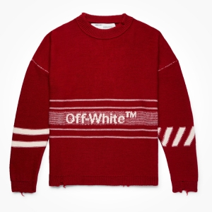 This OFF-WHITE knit is heavily distressed. Buy it, and you won't be. Click the thumbnail to shop.