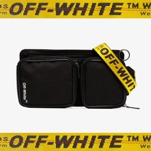 This OFF-WHITE CORDURA BAG is the perfect way to carry whatever it is that fashionistas pretend they need to carry at fashion week. Click to shop.