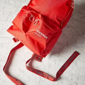Red is the new OFF-WHITE, and this new QUOTE BACKPACK is proof. Click the thumbnail to shop.