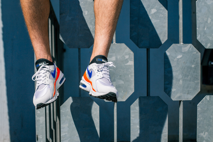 Check out the NIKE AIR MAX 93 with hits of Total Orange and Nebula in this  on-foot shoot. bfede18e4
