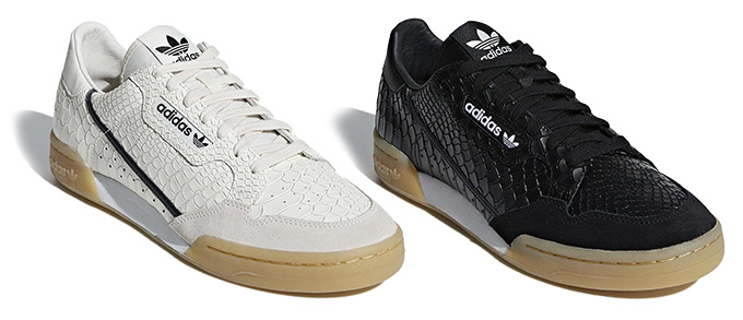wholesale dealer a379d 907b4 Available Now  the adidas Continental 80 Snakeskin in both Black   White