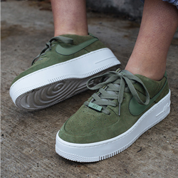 olive green and white air force ones