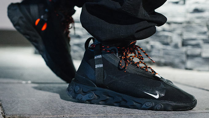Nike React Runner Mid WR ISPA Black: On-Foot Shots