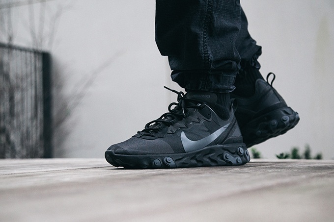 d0f764a6454c Nike React Element 55 Black and Dark Grey  On-Foot Shots - The Drop Date