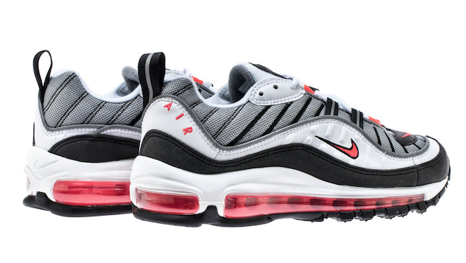 819c3e47a7 The NIKE WMNS AIR MAX 98 SOLAR RED is AVAILABLE NOW. Hit the banner below to  shop at NOIRFONCE now before they go.