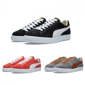 Puma made in japan suede angora wool grey black red p