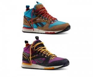 Reebok Gl6000 Mid thatch flight blue stadium red white black aubergine purple solar orange f