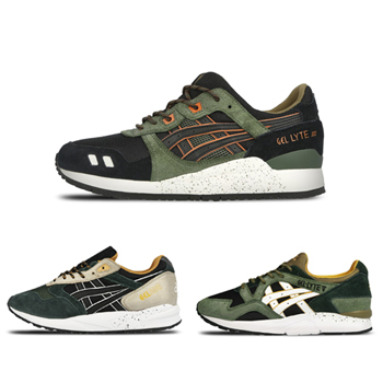 asics winter trail pack green black orange gel saga lyte iii v