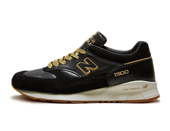 footpatrol x new balance m1500fpk encyclopaedia black leather gold red made in england p