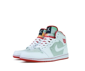 nike air jordan 1 hare mid 719551-123 bugs bunny light silver red white