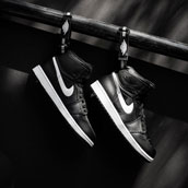 nike air jordan 1 high strap black white f