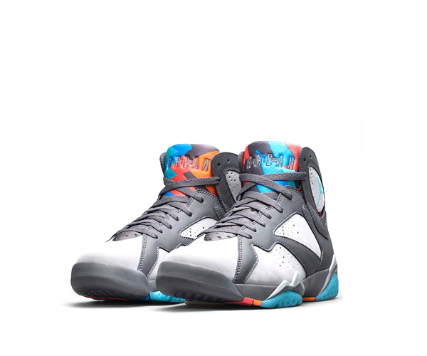 3c2e7568966a2b NIKE AIR JORDAN 7 RETRO  BARCELONA DAYS . Dark Grey   Wolf Grey   Total  Orange   Turquoise Blue ...
