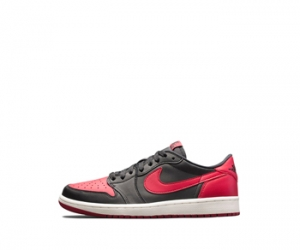 nike air jordan bred 1 low black red leather f