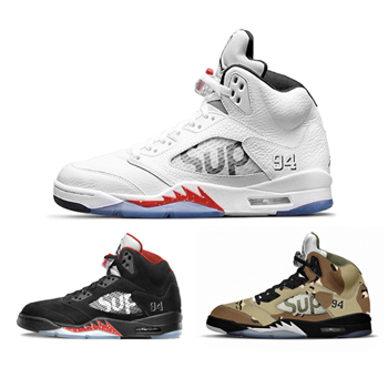 Nike Air Jordan V Retro X Supreme White Black Red Bred Desert Camo Camouflage 824371