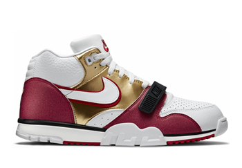 nike air trainer 1 i mid premium qs gold white club pebble red jerry rice p