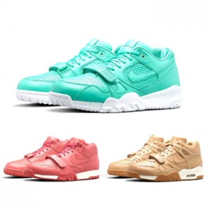 nike sportswear air trainer collection pink rose redwood crystal mint, green brown gum