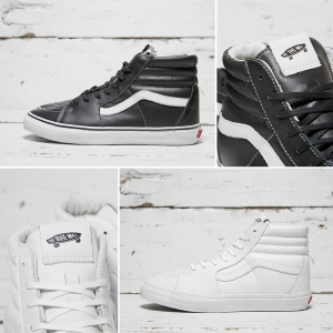 sk8 hi vans vault black white leather f